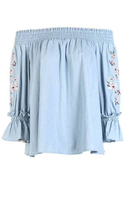 SUGAR 3/4 DENIM TOP(NR), Blue, large