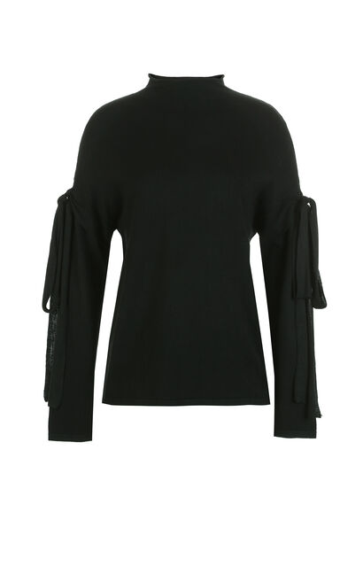 Vero Moda Lace-up Sleeves Knitted Tops|317424515, Black, large