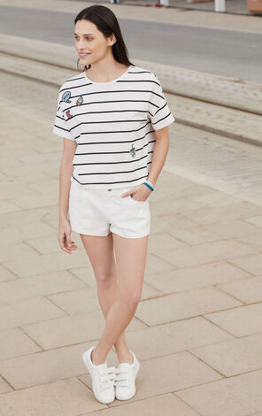 Vero Moda Cartoon Patch Stripe Drop-shoulder Sleeve T-Shirt|317201505