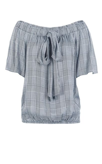 Vero Moda Women Elasticized Off Shoulder Plaid Above-elbow Sleeve Shirt  31826X526, Blue Gray, large