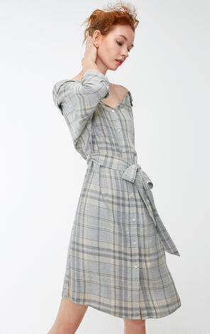 Vero Moda 2018 Winter Off-shoulder Elbow Sleeves Plaid Slip Dress