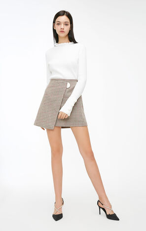 Vero Moda 2018 Autumn Press-stud Houndstooth Woolen Skirt