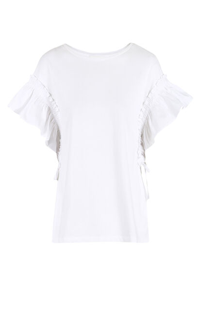 Vero Moda Women's Stretch Cotton Lace-up Ruffled Sleeves Knit T-shirt|318201641, White, large
