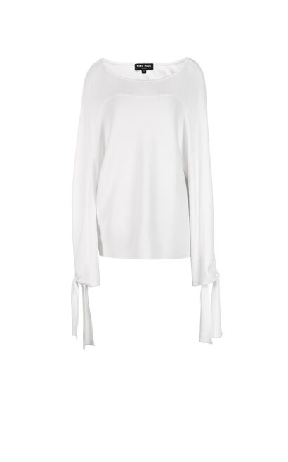 Vero Moda Women's Ins Style Drop-shoulder Sleeves Loose Fit Pure Color Round Neck Knit | 318324510, White, large