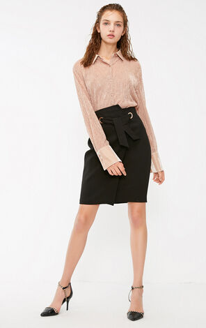 Vero Moda 2018 Winter Asymmetrical Lace-up See-through Back Zip Skirt