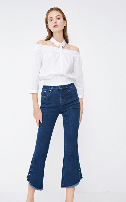 Vero Moda 2018 Winter Beaded Raw-edge Cuffs Slits Flare Jeans, Blue, large