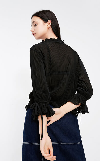 Vero Moda ruffled decorative lace-up pleated chiffon shirt, Black, large