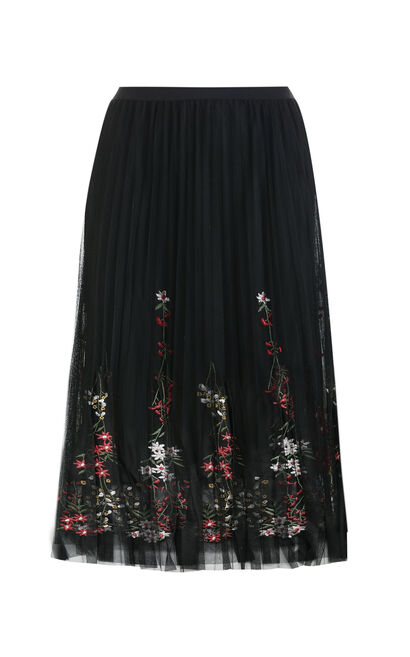 Vero Moda Women Layered Mesh Embroidered Skirt 318216532, Black, large