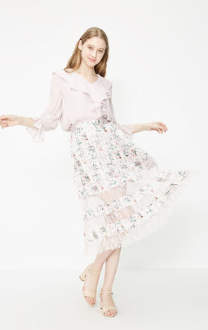 Vero Moda 2019 Spring New Summer See-through Lace Spliced Floral A-line Skirt|319116528