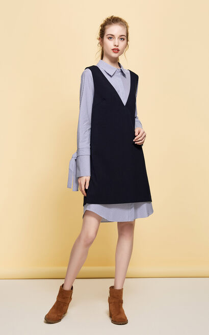 Vero Moda Wide-cuff Sleeves Side Slits Two-piece Dress|31747D506, Navy Blue, large
