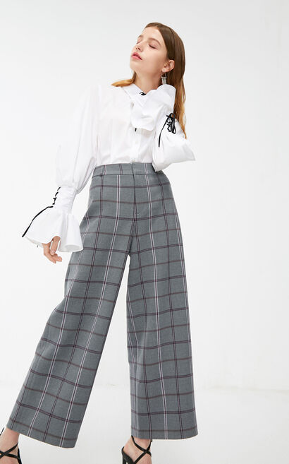Vero Moda 2019 Plaid Concealed Zip Fly Wide-leg Pants |319150511, Grey, large