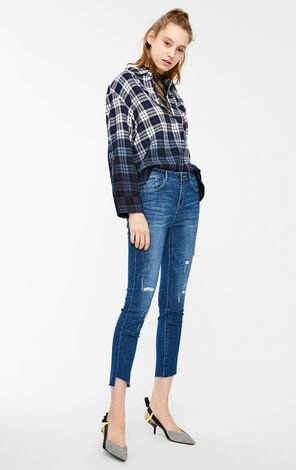 Vero Moda 2019 Women's Washing Fading Distressing Crop Jeans|319149535