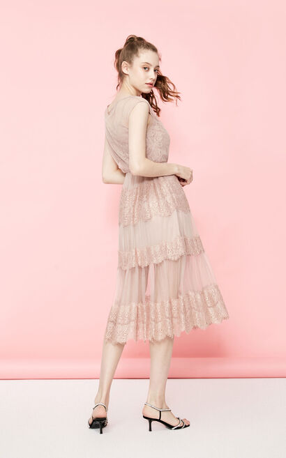 Vero Moda Gauzy Lace Two-tiered Embroidered Silky lining Dress | 31927B506, Pink, large