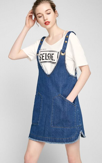 Vero Moda Frayed Hem Pure Color Denim Overall Dress|317242504, Blue, large