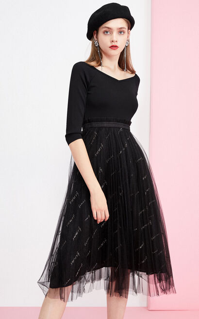 Vero Moda 2019 Autumn & Winter Embroidered 3/4 Sleeves 3/4 Sleeves Knitted Spliced Thin Gauze Dress 31947C509, Black, large