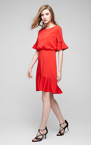 Vero Moda Ruffled Sleeves Fishtail High-rise Mid-length Dress|31716Z509