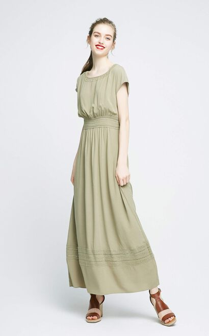 Vero Moda Resort style hollow-out knitted long dress |31737A506, Aqua, large