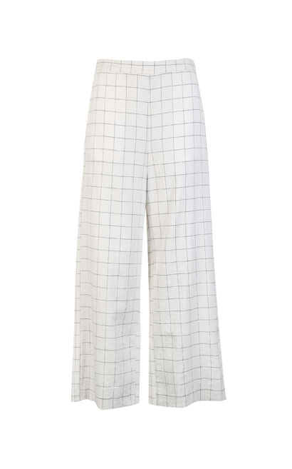 Vero Moda women's plaid straight fit pants|3181PL506, White, large