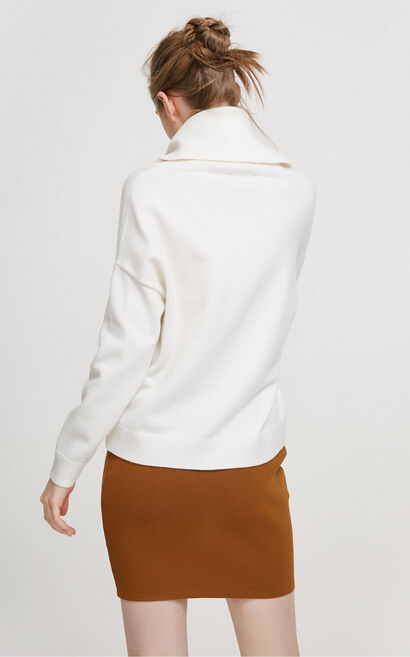 Vero Moda Drop-shoulder Sleeves Turn-down Collars Knit|317413510, White, large