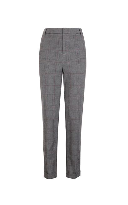 Vero Moda Vintage Plaid Check Cropped Pants|318150502, Black, large