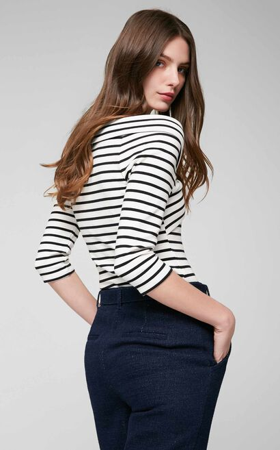 Vero Moda Striped Two-tiered Boat Neck 3/4 Sleeves Stretch T-shirt|317130503, White, large