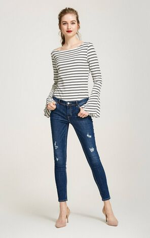 Vero Moda Striped Round Neckline Flared Sleeves T-shirt|317402515