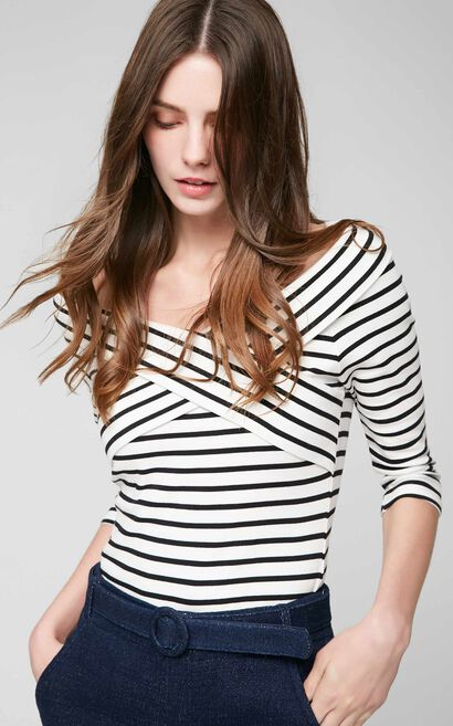 Vero Moda Striped Two-tiered Boat Neck 3/4 Sleeves Stretch T-shirt 317130503, White, large