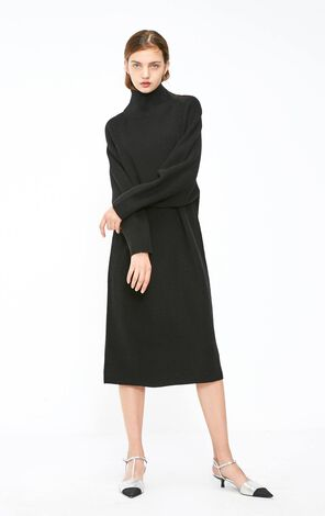 Vero Moda 2018 Autumn Ins Style High Neckline Drop-shoulder Sleeves Lace-up Knitted Dress