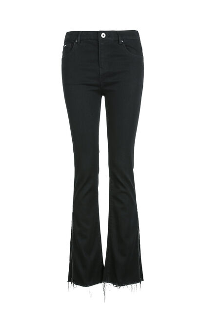 Vero Moda 2018 Winter Raw-edge Cuffs Zipped High-rise Slightly Flared Jeans , Black, large