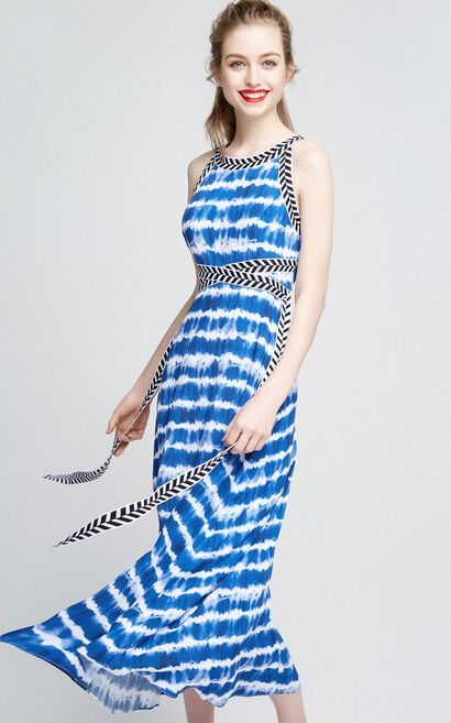 Vero Moda Women's Lace-up Ink Painting Print Dress |31737A523, Blue, large