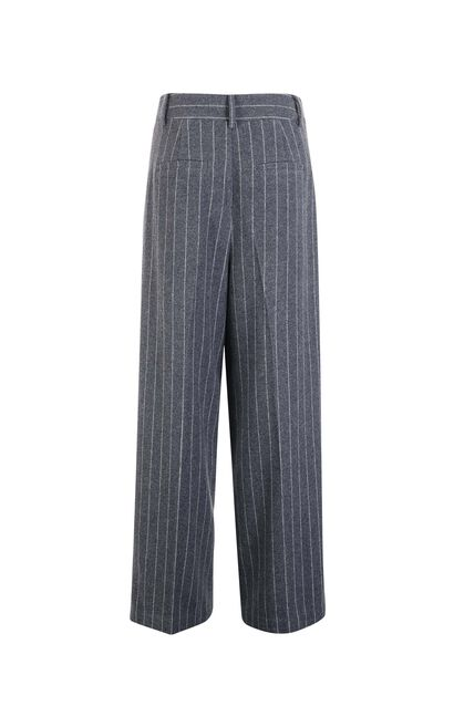 Vero Moda Striped Wide-leg Woolen Crop Pants|317450511, Grey, large