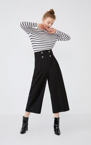 Vero Moda 2019 Autumn & Winter Sheep Wool High-rise Two-row Buttons Wide-leg Capri Pants  31946J518