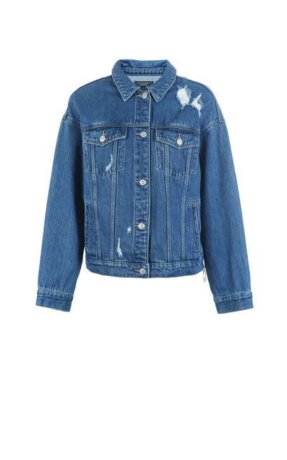 Vero Moda 2019 Pearly Trims Antique Finish Graffiti Denim Jacket|319157510, Blue, large