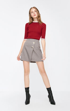 Vero Moda 2018 Autumn Creative Tailoring Metal Buttons Houndstooth Skirt