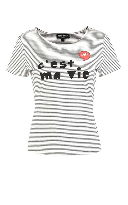Vero Moda Letter Print Striped Short-sleeved T-shirt|317201627, Black, large