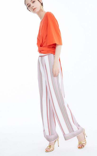 Vero Moda Women's Contrasting Stripes Wide-leg Pants|3182PL504, White, large