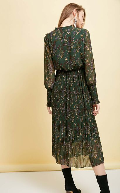 Vero Moda Floral Chiffon Long-sleeved Mid-length Dress|31827D518, Green, large