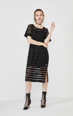 Vero Moda Two-piece Striped Cut-outs Knit Dress|319361519
