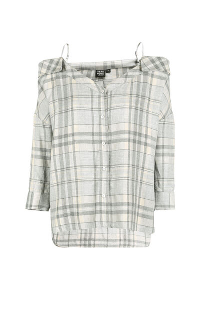 KENDY 3/4 TARTAN SHIRT(AL), Grey, large