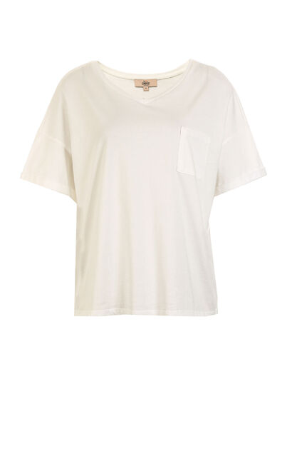 Vero Moda Women's 100% Cotton V-neckline Loose Fit Pure Color T-shirt | 319101545, White, large