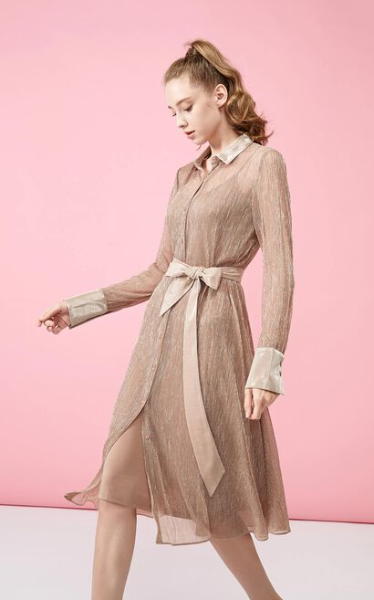 Vero Moda Shirt Collar True Two-piece Mid-length Dress|3193SZ501, Pink, large