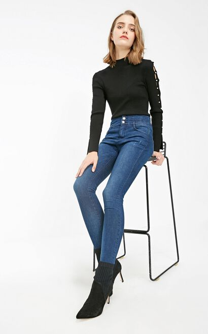 Vero Moda 2019 Women's Lycra Slight Stretch Slim Fit High-rise Jeans |319132501, Blue, large