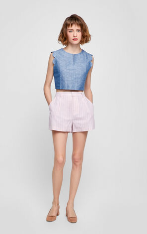 Vero Moda Cotton and Linen Stripe Wide-leg Shorts|317215507
