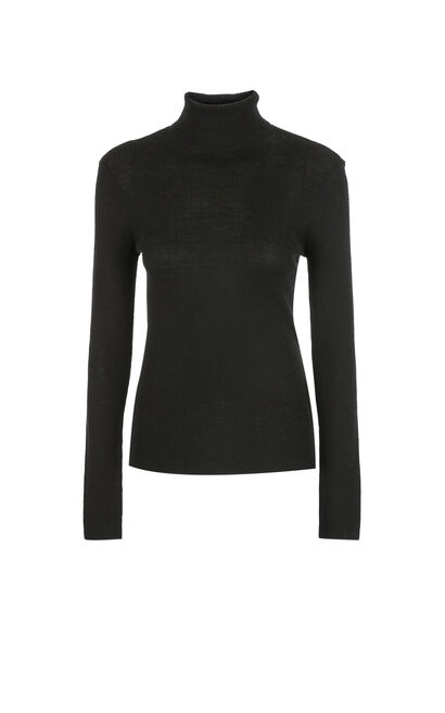 Vero Moda 2019 Fall 100% Wool Slim Fit Knitted Base Shirt|318324522, Black, large