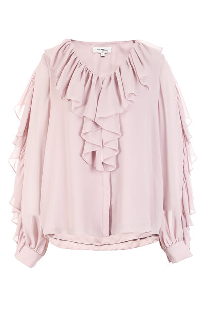 Vero Moda Women's Round Neckline Ruffled Trims Chiffon Shirt|318205522, Beige, large