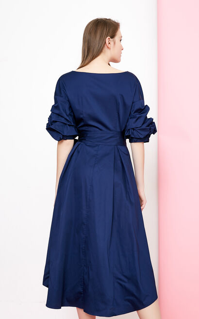 Vero Moda 2018 summer pleated puff sleeves slim down middle-length dress |31826Z501, Blue, large