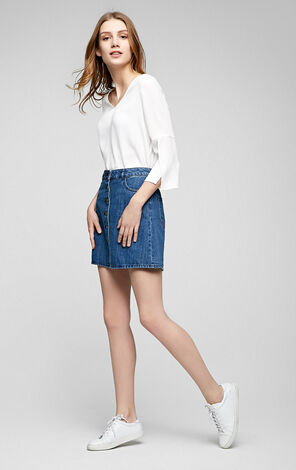 LINK HIGH WAIST DENIM A SKIRT(RN)-OR