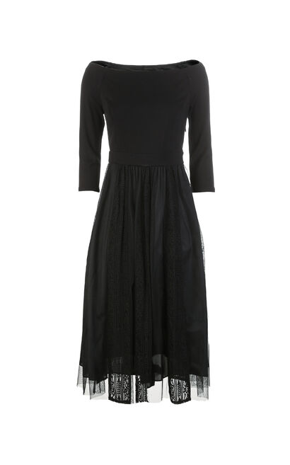 Vero Moda 3/4 Sleeves Off-the-shoulder Laced Dress |31827C503, Black, large