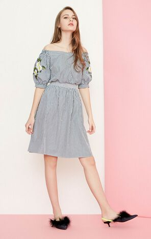 Vero Moda summer stripe board neck embroidery Middle-length dress |31827C506