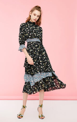 Vero Moda 2019 Spring New Printed Fabric Cinched Waist 3/4 Sleeves Dress|31917C525